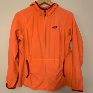Northface Fleece jacket with hood orange pink sz L